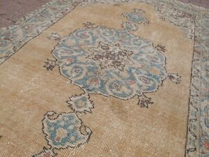 Vintage Accent Oushak Muted Turkish Rug,Oriental Hand Made Wool Carpet 3.9x6.5