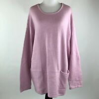 Purejill Women Pink Knit Long Sleeve Sweater sz XL
