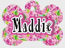 Personalized PINK ROSES PET ID TAG Info Printed on 2 Sides