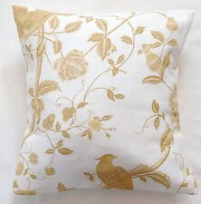 "16"" Laura Ashley 'Summer Palace' Gold Floral Linen Mix fabric cushion cover"