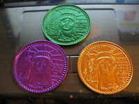 statue of liberty Mardi Gras Doubloon Coin new orleans set of 5 with dual color