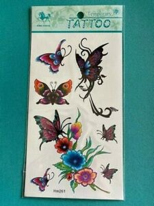 Butterfly & Rose tattoos temporary washable KIDS ADUL SHEET BODY ART HM261