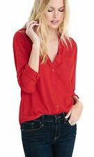 NWT Express Women Convertible Sleeve Portofino Shirt, Original Fit, Red, XS