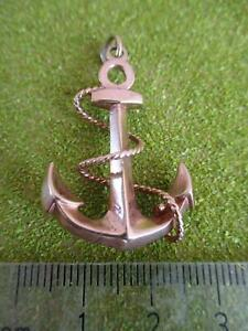 9CT 375 VINTAGE LARGE SOLID GOLD ANCHOR PENDANT HEAVY