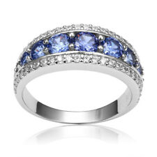 3.50 tcw Blue Tanzanite & Diamond Wedding band Ring in Platinum Finishing