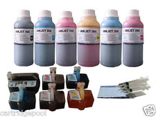 6 Refillable ink set for HP 02 Photosmart D7145 C7180 D7155 D7160 C7250 +6x250ML