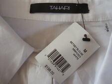 NWT$158 TAHARI BETSEY BLOUSE Hidden Button 3/4 Sleeve White Shirt Sz M