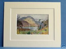 HEAD OF BUTTERMERE CUMBRIA VINTAGE DOUBLE MOUNTED PRINT 1908 HEATON - COOPER