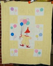 CHEERY Vintage 40's Clown & Balloons Applique Antique Crib Quilt ~NICE YELLOW!