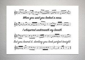 Ed Sheeran - Perfect - Song Sheet Print Poster Art