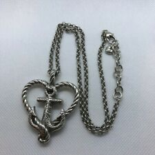 Brighton Anchor Seas The Day Anchored In Love Necklace Heart Pendant W/ Pouch