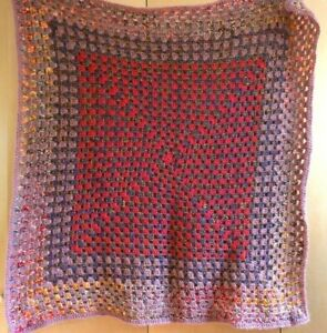 Hand Crocheted Rustic 'Granny Square' Throw Blanket 110cm square (approx)
