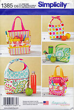SIMPLICITY SEWING PATTERN 1385 ART CADDIES/TOTES, LUNCH BAGS & SNACK BAG