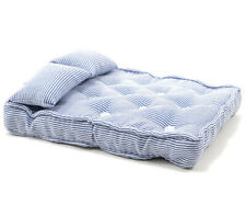 Dollhouse Miniature 1:12 Scale Mattress in Blue Ticking with Pillows