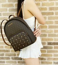 Michael Kors Erin Studded Medium Abbey Backpack Brown MK Signature Leather