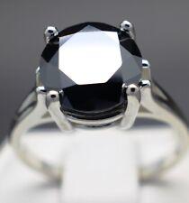 Ring Aaa Grade & $2185 Value 3.97cts 10.44mm Real Natural Black Diamond