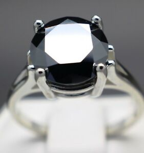4.00cts 10.30mm Real Natural Black Diamond Ring AAA Grade & $2200 Value..
