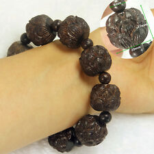 Black brown Wood Snow Lotus Flower Bracelet , Elastic line beaded Stretch