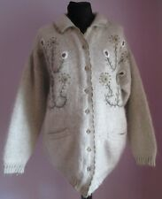 VTG Ladies RIDER Beige Floral Embroidered Lambswool Cardigan Size XL (f1)