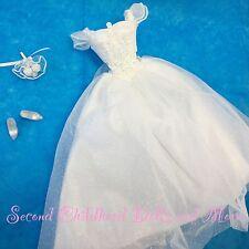 NEW TNT BARBIE CLOTHES White Traditional Wedding Gown BouquetShoe PRINCESS BRIDE