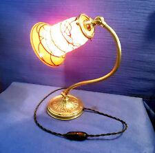 ANCIENNE LAMPE ARTICULÉE  ET TULIPE  PÂTE DE VERRE POWOLNY,  LOETZ ART DECO