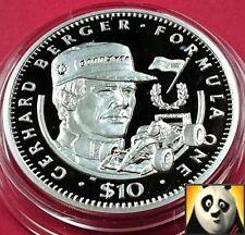 1992 Liberia $10 Ten Dollar f1 FORMULA UNO Gerhard Berger argento Proof Coin