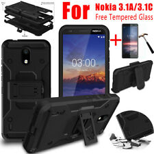 For Nokia 3.1a 3.1c Shockproof Armor Blet Clip Holster Case Cover+Tempered Glass