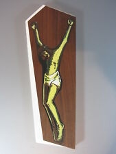 """Vintage art religieux sur bois Quebec Daniel Lareau Signed original wood 12"""""""