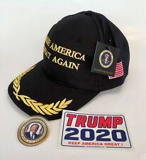 President Donald Trump Cap...Make America Great Again...Black/Gold  + 2 Decals