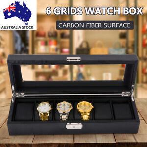 6 Grids Watch Box Carbon Fiber Storage Case Jewelry Display Organizer Gift