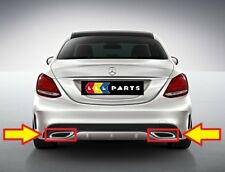 NEW GENUINE MERCEDES MB C CLASS W205 AMG EXHAUST TAIL PIPE CHROME TRIM PAIR L+R