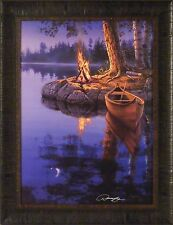 TIME TO REFLECT by Darrell Bush 20x26 FRAMED PRINT Canoe Campfire Signed