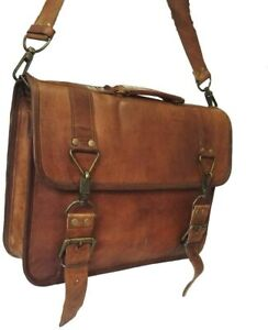 15 Inch Vintage Handmade Leather Messenger Bag Laptop Briefcase Distressed Bag