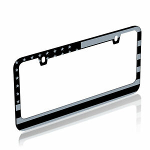 Metal Matte Black & Gray American USA Flag Style License Plate Frame Universal