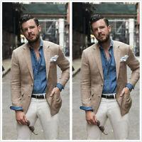 Summer Linen Men's Coat Blazer Khaki Causal Party Sports Slim Size 36r 38r 40r+