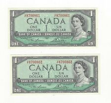 **1954 Modified**Canada $1 Note, Lawson/Bouey BC-37d, Ser# VF 8700861 & 62 Cons.