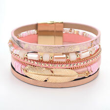 Women Leather Bracelet Rhinestone Leaf Bangle Charm  Wristband Cuff Fashion Gift