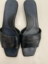Bally Womens All Leather Black Slippers Size 3.5/36.5