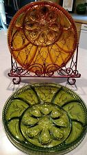 Lot of 2 VINTAGE  AMBER, GREEN INDIANA GLASS DEVILED EGG RELISH TRAYS, RARE