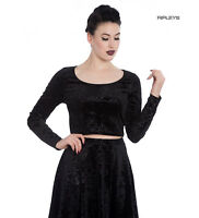 Hell Bunny Gothic Long Sleeve Crop Top MARGOT Black Filigree All Sizes