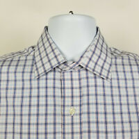Brooks Brothers Milano Non Iron Blue White Check Mens Dress Button Shirt 15 - 32