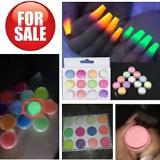 12 Boxes Set Glow in the Dark Luminous Nail Art Powder Dust Pigment Nail Dipping