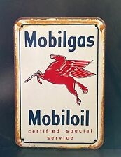 Mobilgas Service Oil&Gas Large METAL SIGN vtg Retro Garage Wall Decor 30x40 Cm