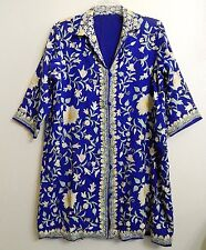 "Embroidered Royal Blue Women's 46"" Bust Lined Coat Costume Fabric"