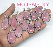 100 PCs Natural Rose Quartz Gemstone .925 Sterling Silver Plated Pendants
