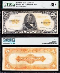 AWESOME Crisp Choice VF++ 1922 $50 *GOLD CERTIFICATE*! PMG 30! FREE SHIP! 88626