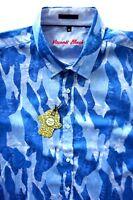 Visconti Nwt Blue Cotton Camo Print Kutch Short Sleeve Sport Shirt S M L XL 2XL