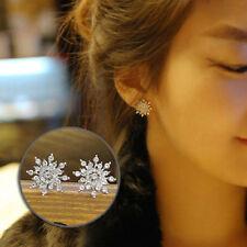 1 Pair Women Lady 2018 Hot Golden Silvery Crystal Snowflake Stud Earrings Gift
