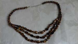 Sterling Silver Tigers Eye Three Strand Bead Necklace