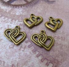 Antique bronze charm double heart-pack de 20